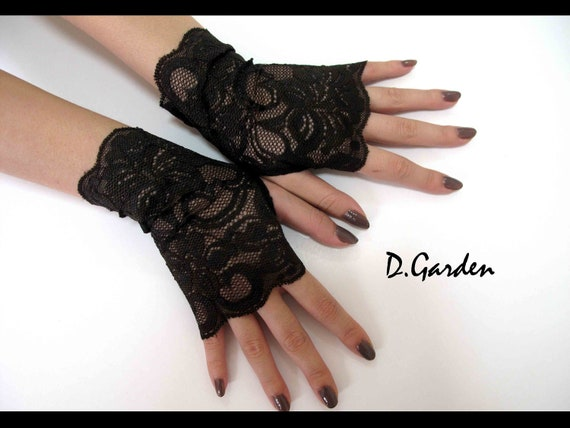 Elegant Lolita Stretchy Dark Brown Lace Victorian Sexy Fingerless Gloves / Arm Warmers