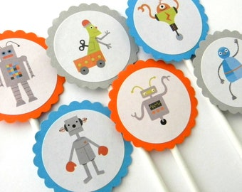 12 Robot Cupcake Toppers, Robot Birthday, Robot Party, Cupcake Toppers, First Birthday, Baby Shower, Boy Birthday, Party