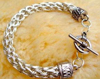 Double Knit Viking Bracelet Silver Plated Wire Handmade in Scotland