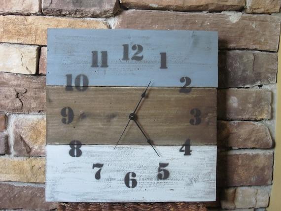 Rustic wood clock, wood wall clock blue and grey