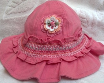 Girls Baby Infant Hat Sunhat Jersey Cotton - Handmade Irish Rose -  Peachy Pink - Size 0-12 Months