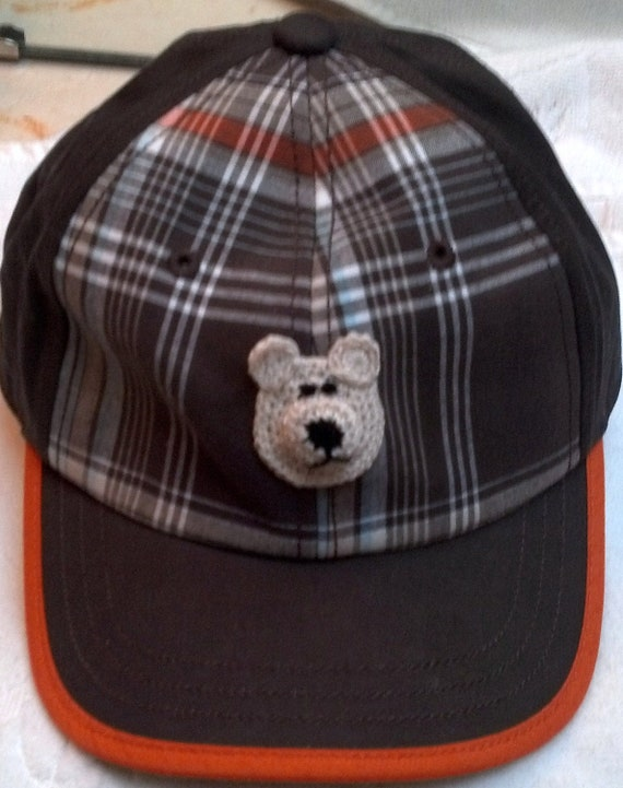 Boys Baseball Cap Hat - Handmade Teddybear Face -  Brown Plaid - Sizes 5-7 years, 8 plus years