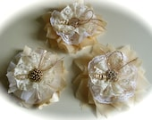Rustic Shabby Chic Yellow  Lace Fabric   Flowers Wholesale Rosettes Wedding Decor Set of 3