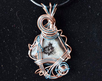 Copper and Blue Wire wrapping Agate (JSP003)