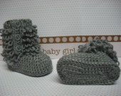 "Grey Gray Uggs inspired ""Born this Way"" baby girl booties size 6-12 months"