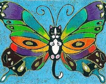 ACEO Darling cute Tuxedo Catterfly rainbow Butterfly Cat Kitten Fairy Fantasy Art MINI PRINT of original by K.McCants