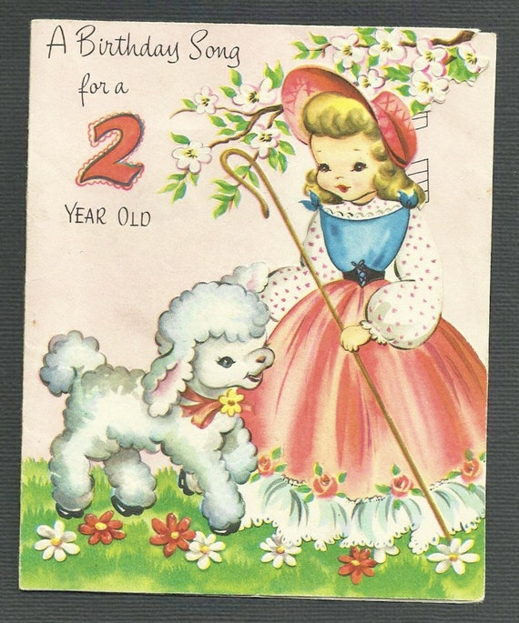 1950's Vintage Children's Birthday Card 2 Two Year Old