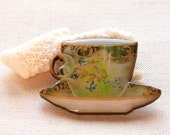 Cottage Chic TeaCup Retro Brooch Wood Handmade Art Golden Swirls