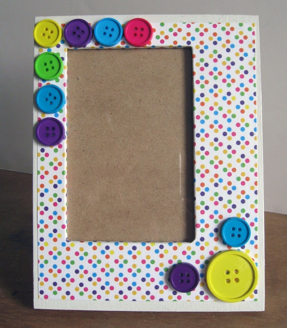 Hand Painted Wooden 4 x 6 Picture Frame Scrapbook Polka Dot and Button Theme