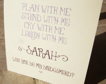 """10 Personalized Will You Be My Bridesmaid Cards """"Plan, Stand, Cry, Laugh"""""""