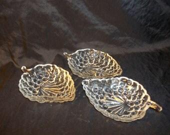 Vintage Set of  Crystal, Pressed Glass Grape Leaf Bowls