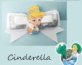 "Cinderella Hair Bow- 3"" inch white and silver glitter ribbon"