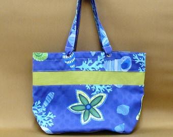 Blue Seashells Beach Bag