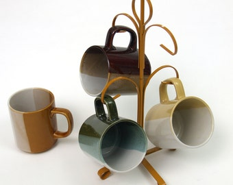 Vintage Mug Tree Set 70s 80s // Pretty coffee cups muted colors