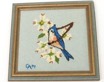 1977 Bluebird Framed Needlepoint