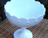 Vintage White Milk Glass Large Teardrop Compote Planter by Indiana Glass