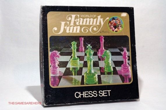 World Of Family Fun Chess Set From Hasbro Colorful Clear Chess