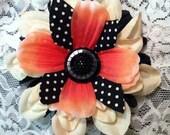 SALE-Black Ivory Polka Dot Pin Up  Flower Embellished With Black Button
