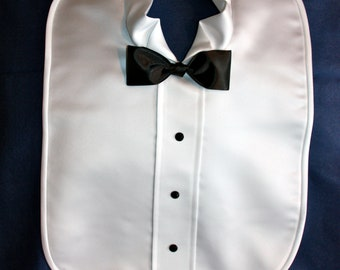 Wedding Bibs - 1 Groom Bib in white or cream satin - Bibs for Bride and Groom