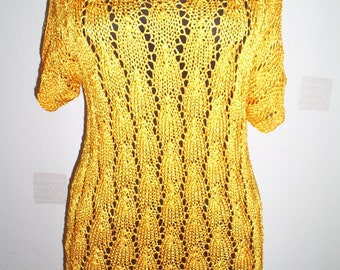 Tops, knit tunic, silk blouse, hand knitted blouse, summer blouse, women knitted blouse, orange