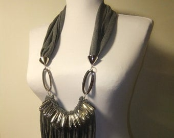 Upcycled Shredded Grey Scarf Necklace