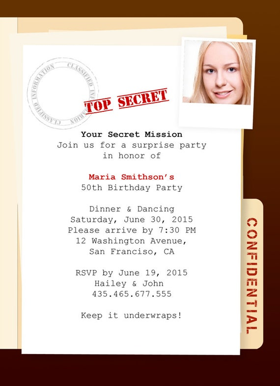 Items similar to top secret mission surprise party on etsy filmwisefo