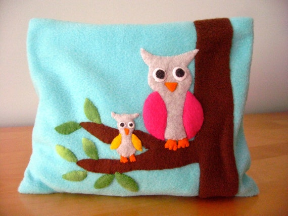 FREE SHIPPING Microwave Heating Pad Cherry Stone Filled Fleece Pillowcase with Owls Appliqué