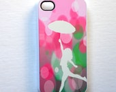 Mint and Pink iPhone Case 4 / 4S Cell Phone Case Playing in the Rain Mint and Pink