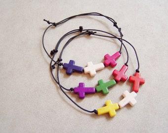 Colourful crosses bracelets, sideways crosses bracelets, howlite and black cord, adjustable bracelets, friendship bracelets, set of three