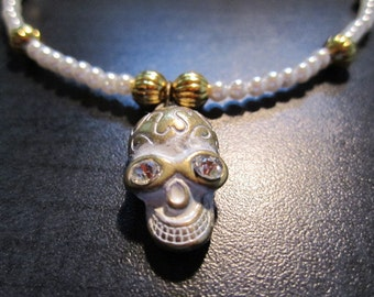 White and Gold Skull and Pearl Necklace