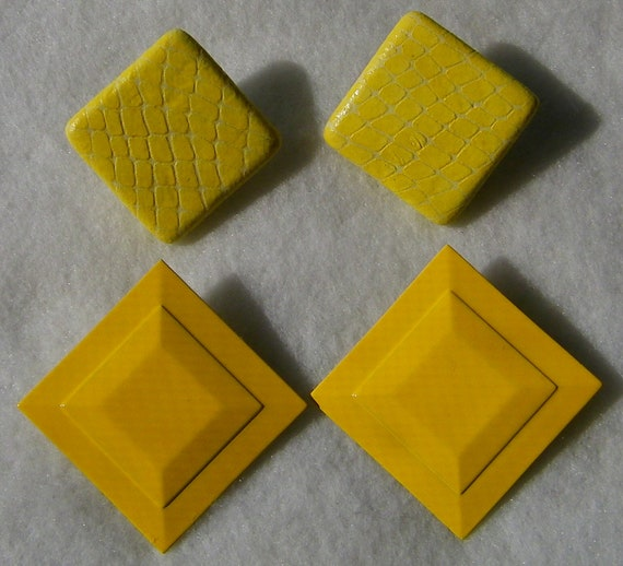Vintage Square Yellow Metal and Faux Snakeskin Pierced Earrings 2 pair