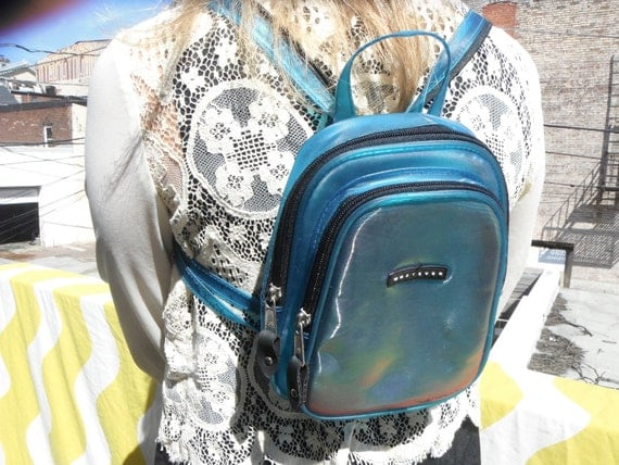 vintage 90s whatever mini backpack holographic