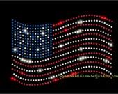 Iron on Rhinestone Transfer- American Flag- DIY 12-65