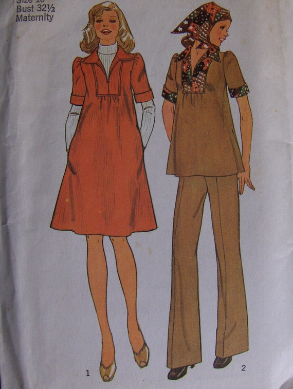 1970s Vintage  Pattern  Simplicity  7153  Misses'  Size 10 Maternity Dress or Top Pants and Scarf