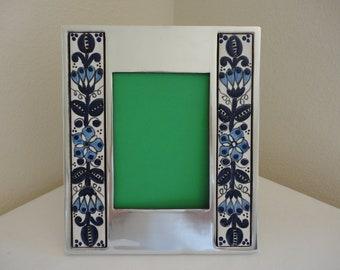 Talavera Ceramic/Pewter Frame - 5x7 - Flowers - Portrait