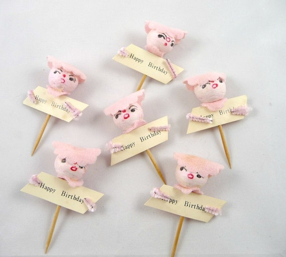 Vintage Spun Cotton Happy Birthday Pink Party Pick for Crafts Decoration Party Favor