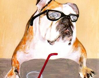 Print Illustration Art Poster Acrylic Painting Kids Decor Drawing Gift : Bulldog Novelist Print