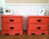 vintage bright coral nightstand