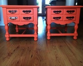 Made to order coral nightstand set for Audrey