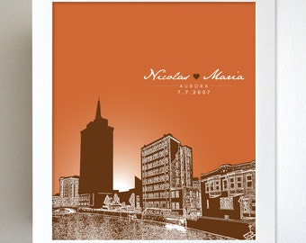 Custom Keepsake Gift  for Her  / Aurora Illinois Skyline Birthday Gift / Party Gift Special Date Art Poster / Any Cityscape Available