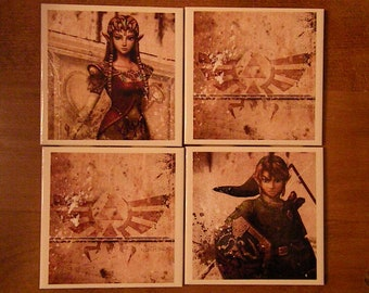 Set of FOUR Legend of Zelda Coasters