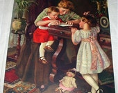 Victorian Mother Children Titled A Letter To Papa Artist Carl Hirschberg Original 1916 Antique Lithograph Art Print Home Decor Picture