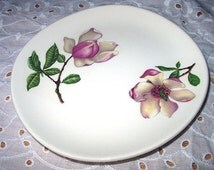 Delmar Diana Pattern Pink Magnolia Flowers Bread and Butter Vintage Plate Crooksville Pattern Iva-Lure Tableware