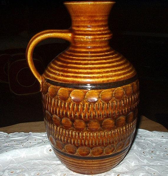 West Germany Brown Large Pottery Pitcher Vase Unique
