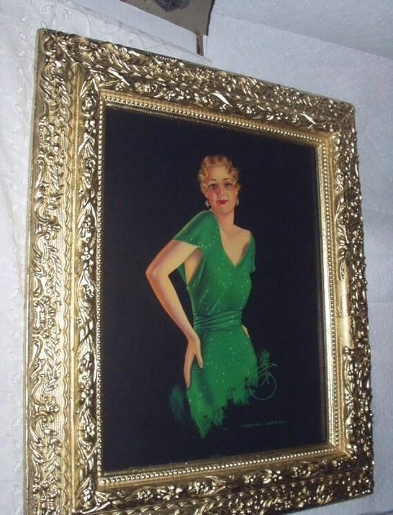 Flapper Girl Green Dress Devorss Artist Signed Ornate Antique Gold Gesso Wood Frame Stunning Art Deco Pin Up Goddess Home Decor Wall Picture