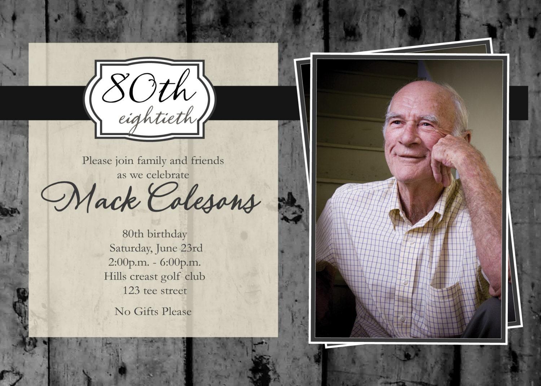 Adult Male Photo Birthday Party Printable Invitation