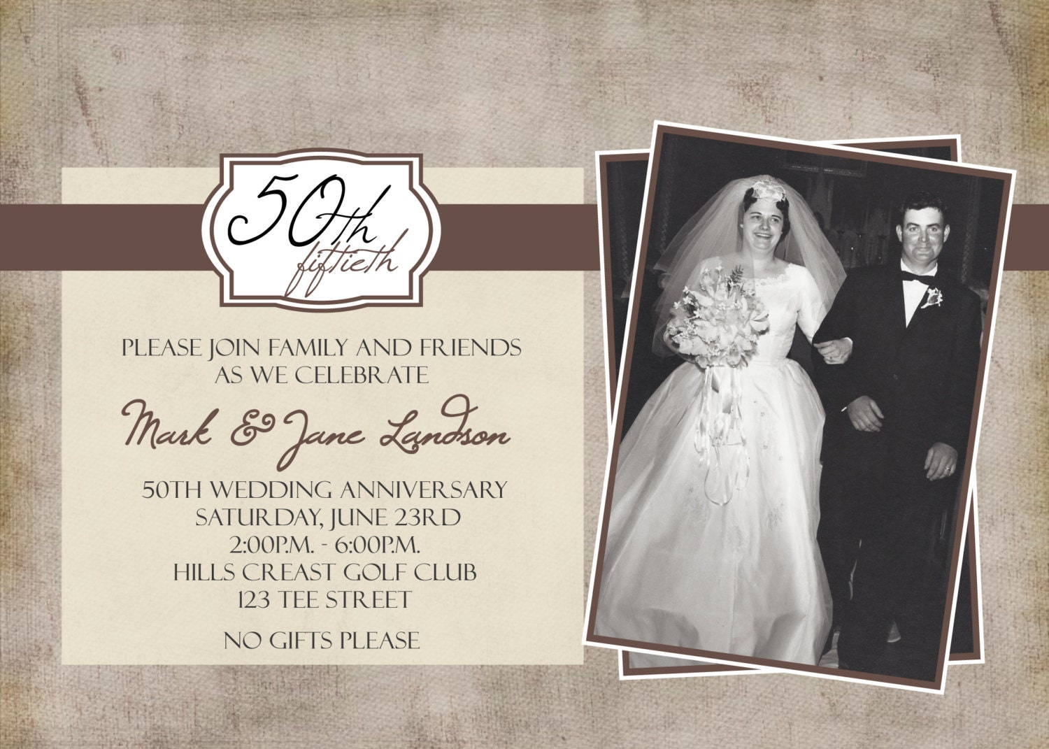 50th Wedding Invitation Templates: 50th Anniversary Photo Party Printable Invitation