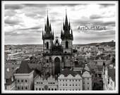 Prague Czech Republic-  Prague Church of Our Lady before Tyn, Color or Sepia or Black & White, Prague Photography, Prague Wall Art Decore