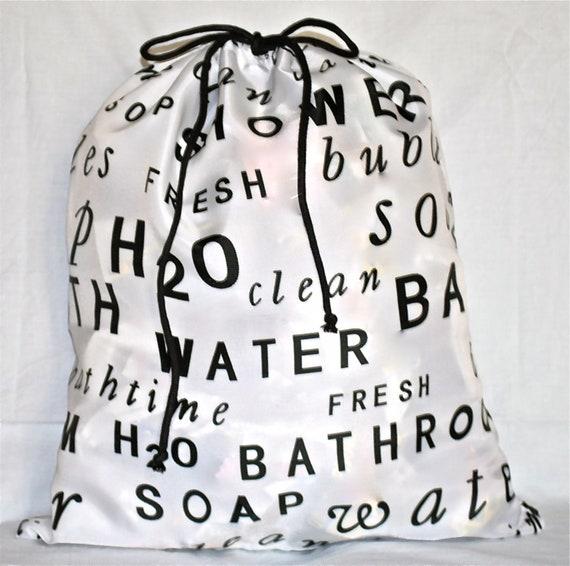 Printed waterproof bag with drawstrings
