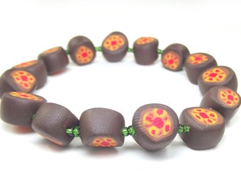 Autumnal Beaded Bracelet - Orange and Brown Unique Beads